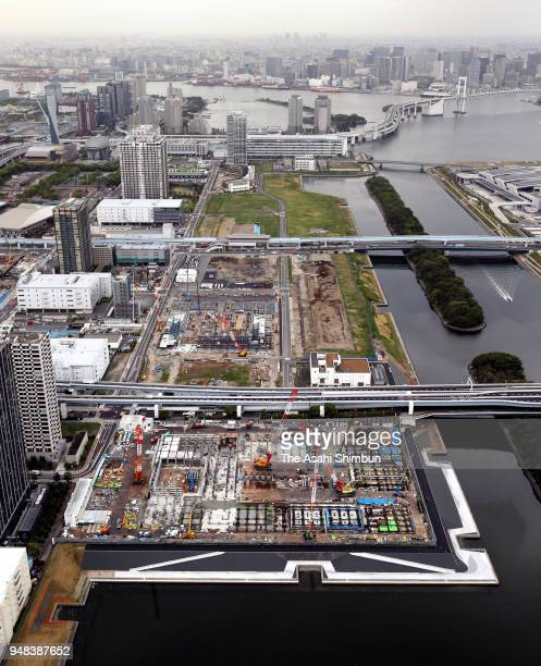 In this aerial image construction continues at Ariake Arena on April 16 2018 in Tokyo Japan