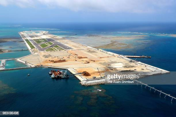 In this aerial image Cape Kiyan is seen on June 23 2018 in Itoman Okinawa Japan