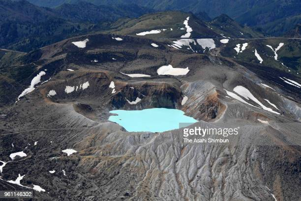 In this aerial image Crator Lake 'Yugama' of Mt KusatsuShirane is seen on May 21 2018 in Kusatsu Gunma Japan