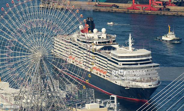 In this aerial image cruiser MS Queen Elizabeth is seen on arrival at the Osaka Port on March 22 2016 in Osaka Japan