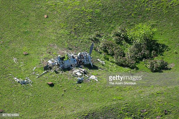 In this aerial image debris of the Japanese Imperial Navy fighter A6M 'Zero' is seen in the field on August 27 2016 in Pagan Island Northern Mariana...