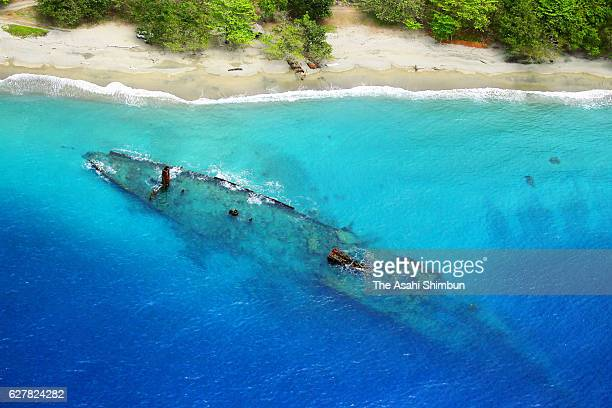 In this aerial image debris of the Japanese Imperial Navy transport vessel Kinugawa Maru lies at Tassafaronga beach on August 31 2016 in Guadalcanal...