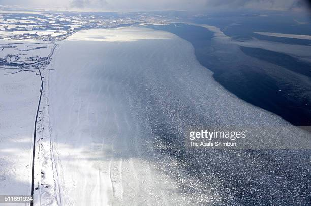 In this aerial image drift ice is seen arriving at coast line on February 22 2016 in Abashiri Hokkaido Japan