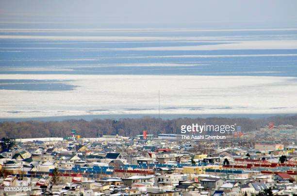 In this aerial image drift ice is seen at Sea of Okhotsk on February 2 2017 in Abashiri Hokkaido Japan Drift ice arrives at northern Hokkaido 20 days...