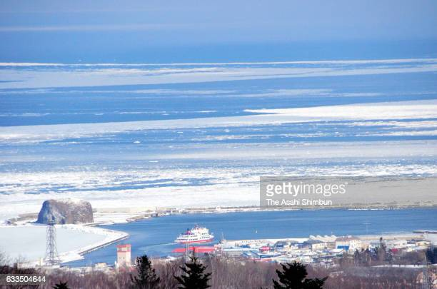 In this aerial image drift ice is seen at Sea of Okhotsk on February 2 2017 in Abashiri Hokkaido Japan Drift ice arrives at northern Hokkaido 20 days...