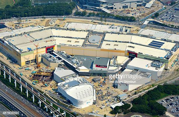 In this aerial image Expocity is seen under construction on the former site of Expoland at the Expo f70 Commemorative Park on August 3 2015 in Suita...