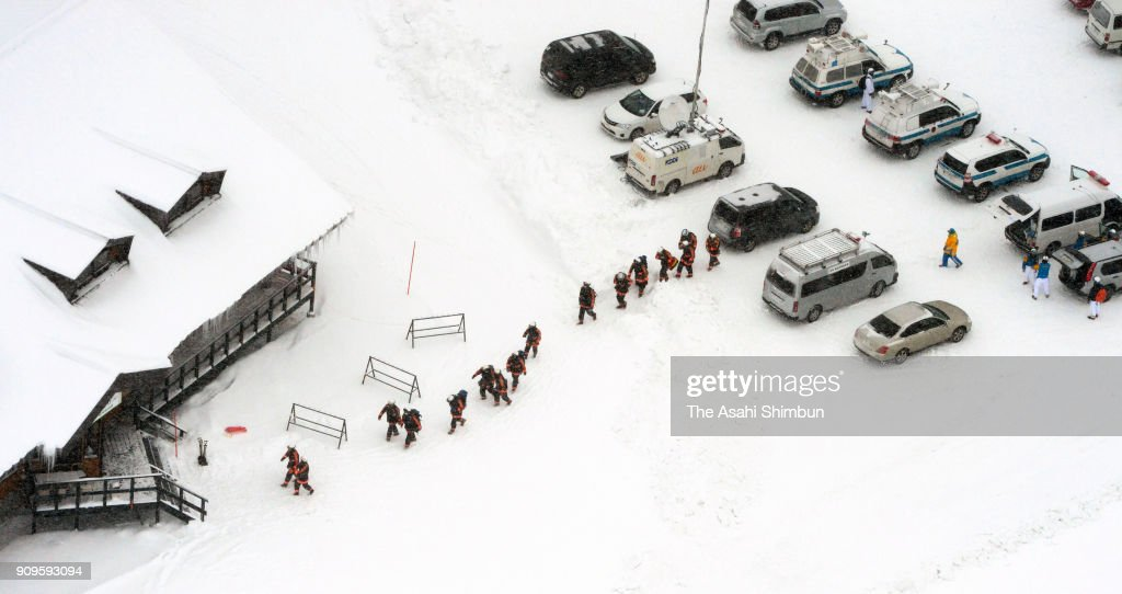Searching Operation For Possible Survivors After Avalanche Triggered By Eruption Killed A Self-Defense Force Member