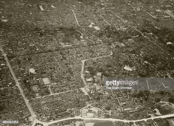 In this aerial image Fuzhou city is seen on April 20 1941 in Fuzhou China