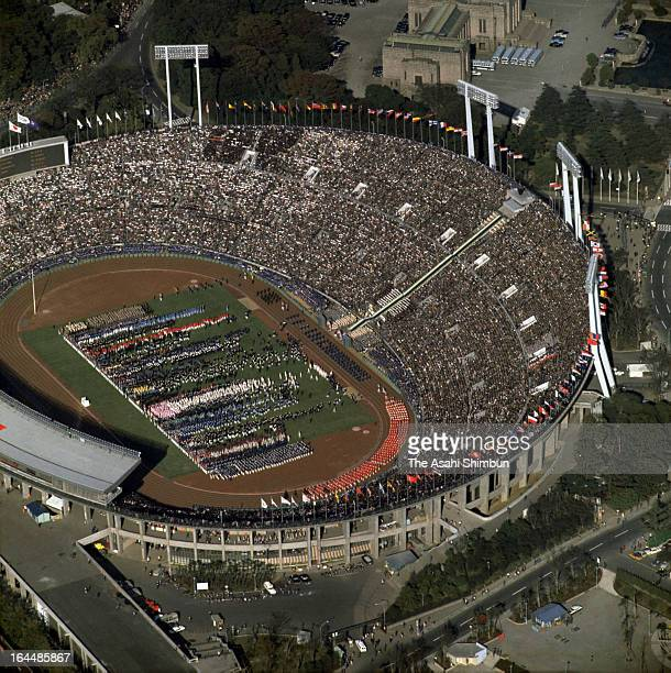 In this aerial image, general view of the Tokyo Olympic Opening Ceremony at the National Stadium on October 10, 1964 in Tokyo, Japan.