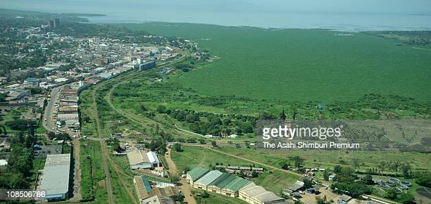 In this aerial image grasscovered Lake Victoria is seen on February 19 2008 in Kisumu Kenya The water level has dropped by 15 meters from that of 1998