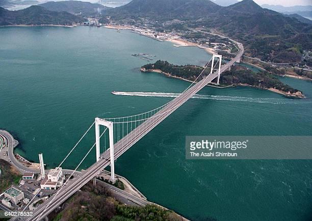In this aerial image HakataOshima Ohashi Bridge of Shimanami Kaido Expressway is seen on April 3 1999 in Hakata Ehime Japan
