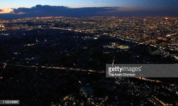 In this aerial image half of Mitaka City is seen under controlled power outage on March 16 2011 in Mitaka Tokyo Japan The 90 magnitude strong...