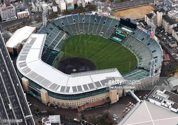 In this aerial image, Hanshin Koshien Stadium is seen on March 10, 2020 in Nishinomiya, Hyogo, Japan.