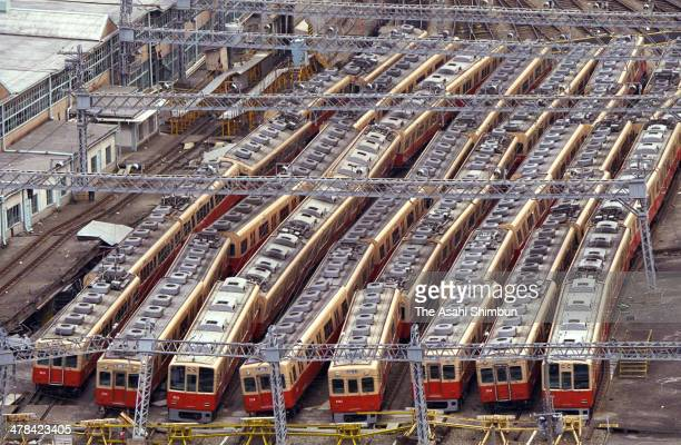 In this aerial image Hanshin Railway carriages have been derailed at Ishiyagawa Train Depot after the strong earthquake hit on Janaury 18 1995 in...