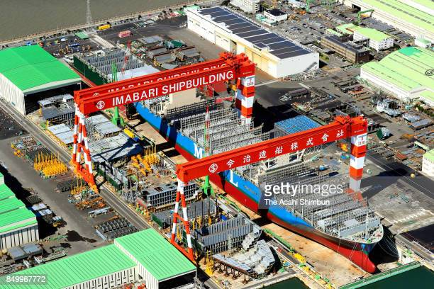 In this aerial image Imabari Shipbuilding's new shipdock is seen on September 18 2017 in Marugame Kagawa Japan
