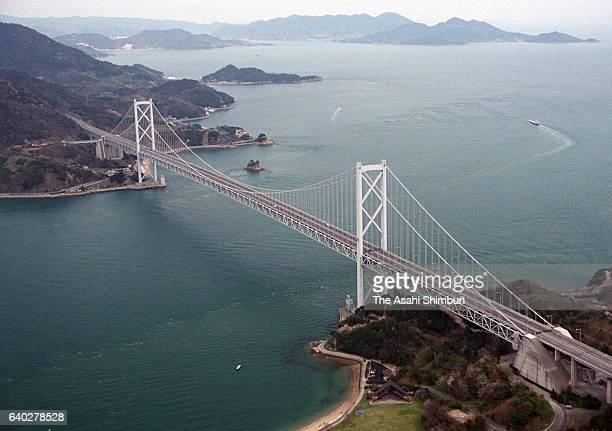 In this aerial image Innoshima Ohashi Bridge of Shimanami Kaido Expressway is seen on April 3 1999 in Innoshima Hiroshima Japan