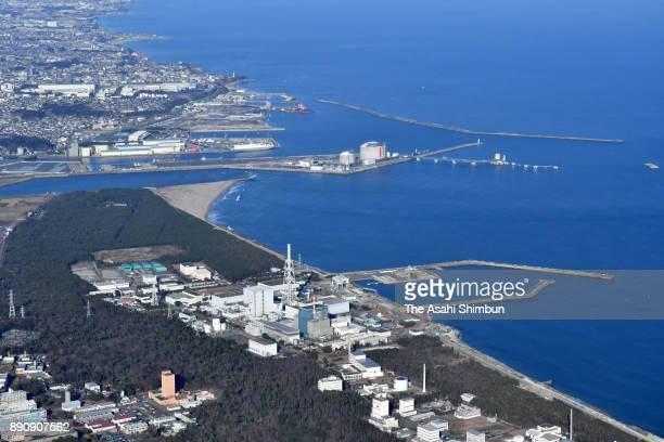 In this aerial image Japan Atomic Power Co's Tokai Daini Nuclear Power Plant is seen on December 11 2017 in Tokai Ibaraki Japan The utility filed an...