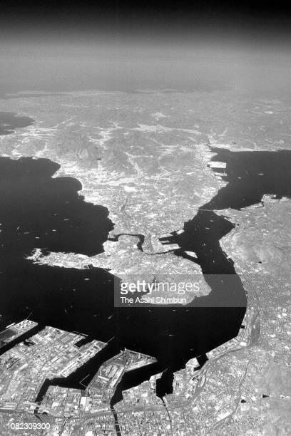 In this aerial image, Kanmon strait is seen on April 28, 1981 in Kitakyushu, FUkuoka, Japan.