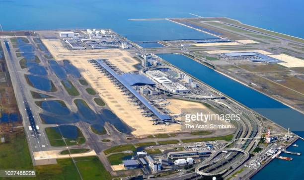 In this aerial image Kansai Airport is inundated a day after Typhoon Jebi hit past on September 5 2018 in Izumisano Osaka Japan Eleven people were...