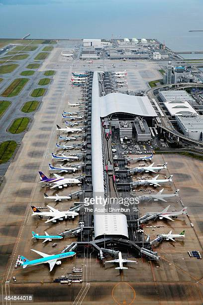 In this aerial image Kansai International Airport is seen on September 4 2014 in Izumisano Osaka Japan The airport marks the 20th anniversary from...