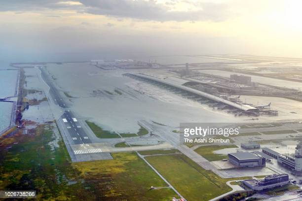 In this aerial image Kansai International Airport is submerged due to high tide triggered by Typhoon Jebi on September 4 2018 in Izumisano Osaka...