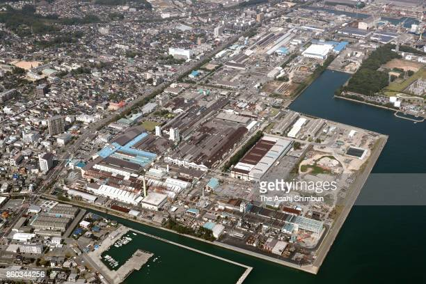 In this aerial image Kobe Steel Chofu Plant is seen on October 11 2017 in Shimonoseki Yamaguchi Japan