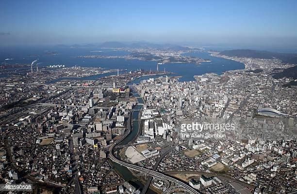 In this aerial image Kokura Kita ward of Kitakyushu city and Kanmon Strait are seen on February 14 2015 in Kitakyushu Fukuoka Japan