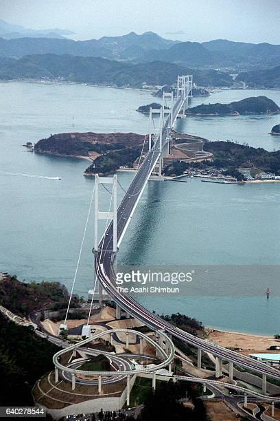 In this aerial image Kurushima Kaikyo Ohashi Bridge of Shimanami Kaido Expressway is seen on April 3 1999 in Imabari Ehime Japan