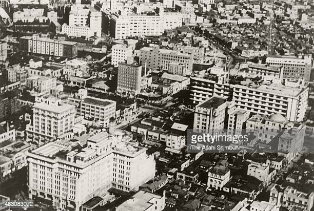 In this aerial image Kyobashi and Nihombashi area are seen circa 1935 in Tokyo Japan