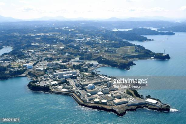 In this aerial image Kyushu Electric Power Co's Genkai Nuclear Power Plant is seen on March 23 2018 in Genkai Saga Japan No 3 reactor is restarted