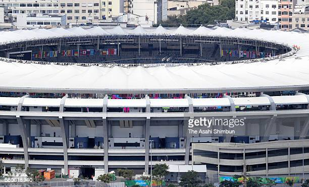 In this aerial image Maracana Stadium is seen ahead of the Summer Olympic Games on July 23 2016 in Rio de Janeiro Brazil