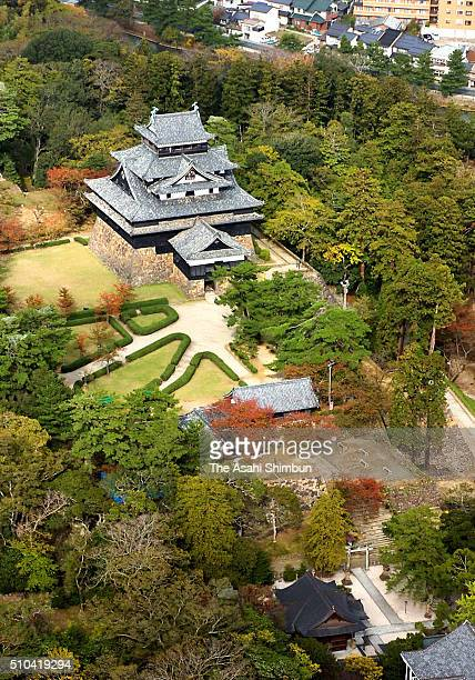 In this aerial image Matsue Castle is seen on November 7 2005 in Matsue Shimane Japan