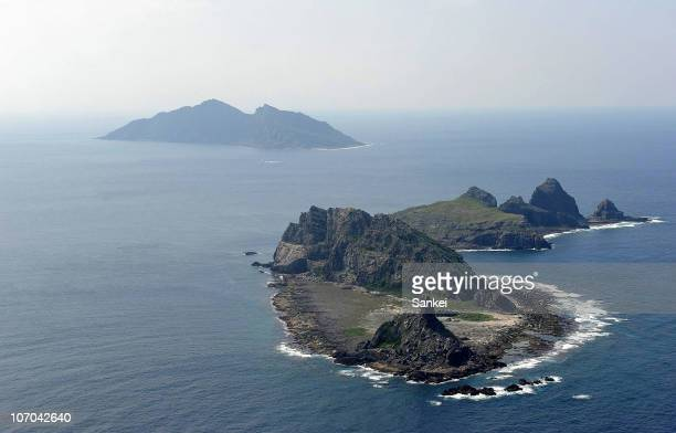 In this aerial image Minami Kojima Kita Kojima and Uotsuri Island of Senkaku Islands are seen on March 26 2009 in Ishigaki Japan