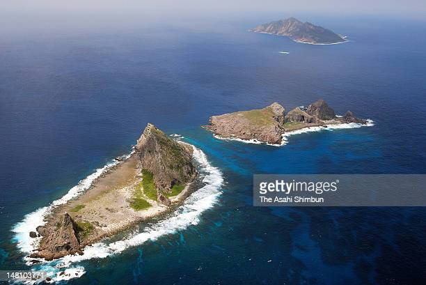 In this aerial image Minami Kojima Kita Kojima and Uotsurijima or Nan Xiaodao Bei Xiaodao and Diaoyu Dao in Chinese respectively are seen on...
