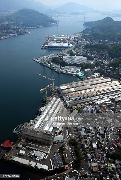 In this aerial image Mitsubishi Heavt Industries Nagasaki Shipyard is seen on April 23 2015 in Nagasaki Japan