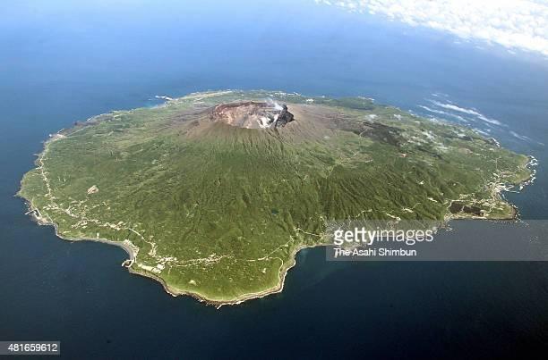 In this aerial image Miyakejima Island is seen on June 17 2010 in Miyake Tokyo Japan