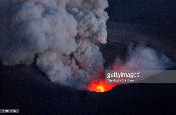 In this aerial image, Mount Asamayama continues to erupt on September 16, 2004 in Karuizawa, Nagano, Japan.