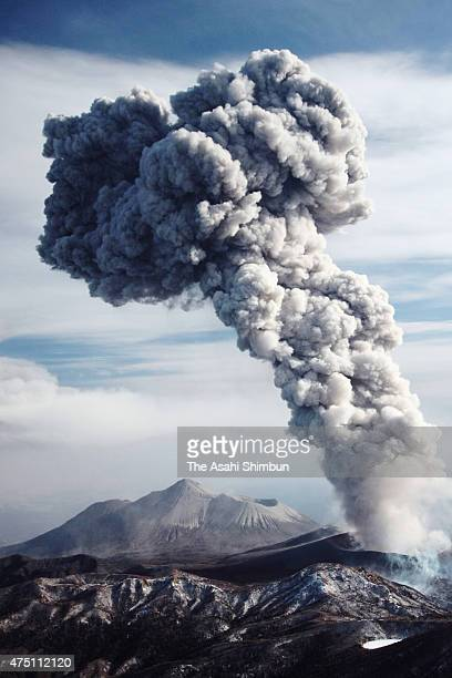 In this aerial image Mount Shinmoedate eruption continues on February 1 2011 in Kirishima Kagoshima Japan