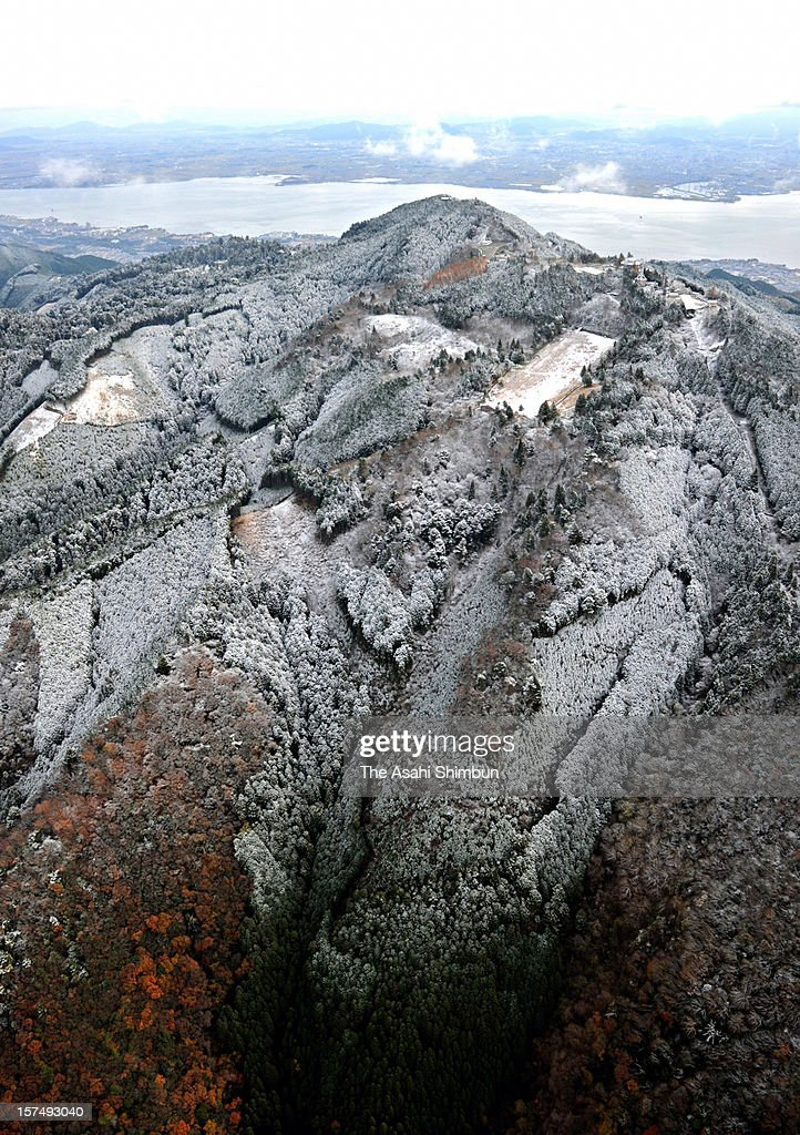 In this aerial image, Mt. Hiei is covered by the first snow of the season on December 2, 2012 in Kyoto, Japan.