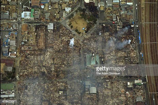 In this aerial image Nagata area of Kobe is seen after fire triggered by the strong earthquake struck on Janaury 18 1995 in Kobe Hyogo Japan...