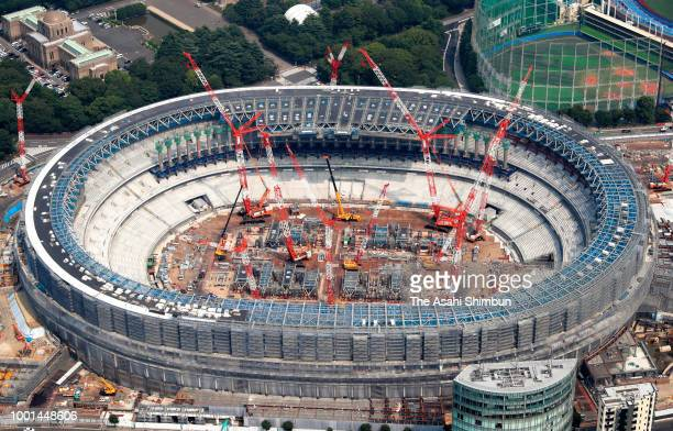 In this aerial image new National Stadium construction continues on July 18 2018 in Tokyo Japan