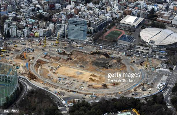 In this aerial image new National Stadium construction continues on February 6 2017 in Tokyo Japan