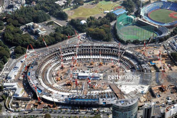 In this aerial image new National Stadium construction continues on October 27 2017 in Tokyo Japan Tokyo to mark 1000 days to go to the 2020 Summer...