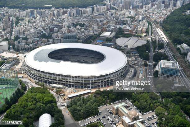 In this aerial image, new National Stadium is seen on June 25, 2019 in Tokyo, Japan.