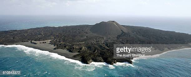 In this aerial image Nishinoshima Island is seen on February 10 2016 in Ogasawara Tokyo Japan Volcanic activity appears to have abated at the island...