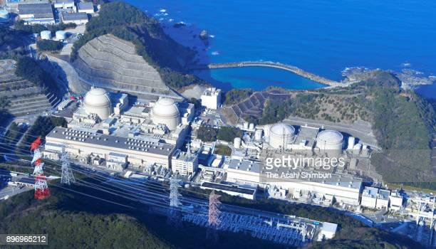 In this aerial image No 1 and No2 reactors are seen at Kansai Electric Power Co's Oi Nuclear Power Plant on December 22 2017 in Oi Fukui Japan The...