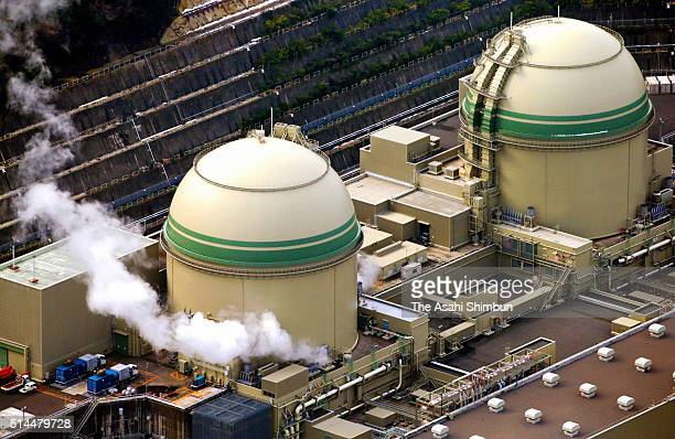In this aerial image No3 and No4 reactors of the Kansai Electric Power Co's Takahama Nuclear Power Plant are seen on March 9 2016 in Takahama Fukui...