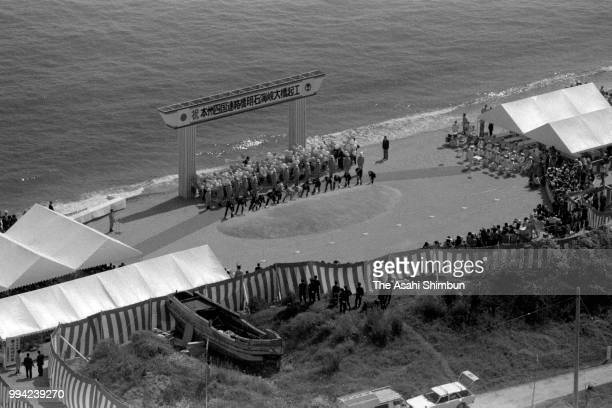 In this aerial image officials attend the groundbreaking ceremony of the Akashi Kaikyo Ohashi Bridge on April 26 1986 in Awaji Hyogo Japan