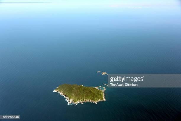 In this aerial image Okinoshima Island is seen on July 18 2015 in Munakata Fukuoka Japan