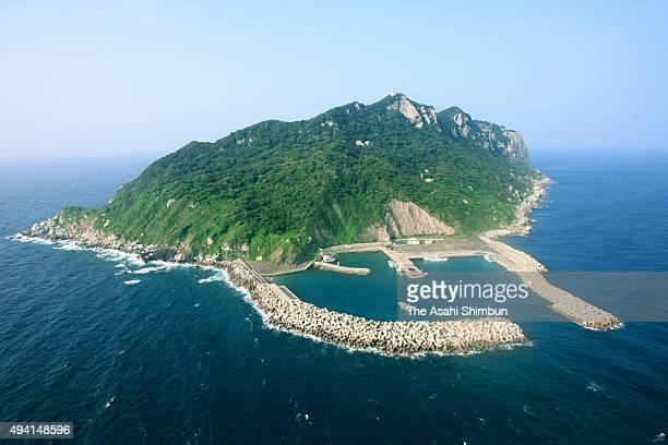 In this aerial image Okinoshima Island is seen on September 25 2008 in Munakata Fukuoka Japan